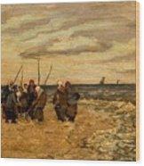 Viktor Ivanovich Zarubin Russian 1866  1928 Fisherwomen In Normandie Wood Print