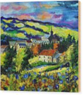 Village And Blue Poppies  Wood Print