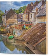 Village At The River Wood Print