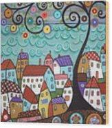 Village By The Sea Wood Print by Karla Gerard