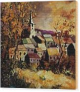 Village In Fall Wood Print