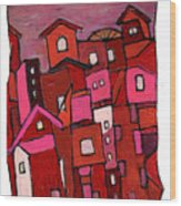 Village In Pink Wood Print
