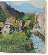 Village In The Austrian Alps Wood Print