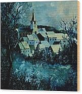 Village In Winter Wood Print