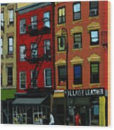 Village Leather - New York Cityscape Wood Print
