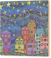 Village Lights Wood Print