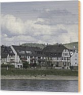 Village Of Spay Germany And Marksburg Castle Wood Print
