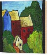 Village Scene Wood Print