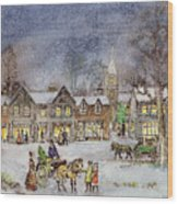Village Street In The Snow Wood Print by Stanley Cooke