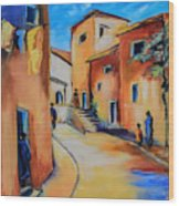 Village Street In Tuscany Wood Print