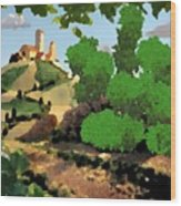 Village. Tower On The Hill Wood Print