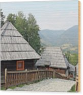 Village With Wooden Cabin Log On Mountain Wood Print