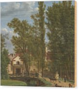 Villagers And Animals In A Landscape Beside A Bridge At The Entrance Of A Village Wood Print