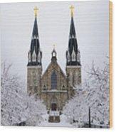 Villanova University After Snow Fall Wood Print