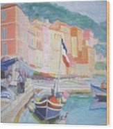 Ville Franche Boat Wood Print by Pixie Glore