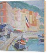 Ville Franche Boat Wood Print