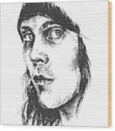 Ville Valo Portrait Wood Print by Alexandra-Emily Kokova