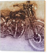 Vincent Black Shadow 2 - Standard Motorcycle - 1948 - Motorcycle Poster - Automotive Art Wood Print