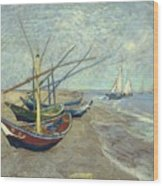 Vincent Van Gogh  Fishing Boats On The Beach At Les Saintes Maries De La Mer Wood Print