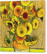 Vincent's Sunflowers Wood Print