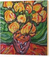 Vinces Flowers Wood Print