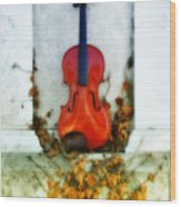 Vines And Violin Wood Print