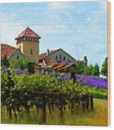 Vineyard And Heather Wood Print