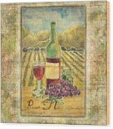 Vineyard Pinot Noir Grapes N Wine - Batik Style Wood Print