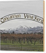 Vineyard Under Snow Wood Print