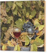 Vineyard With Red And White Wine Autumn Season Wood Print