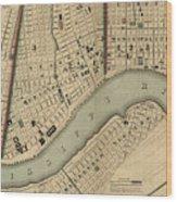 Vintage 1840s Map Of New Orleans Wood Print