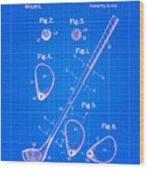 Vintage 1910 Golf Club Patent Blue Print Wood Print