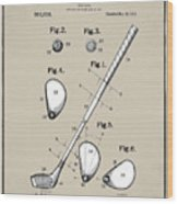 Vintage 1910 Golf Club Patent In Sepia Wood Print