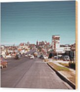 Vintage 1950s View Of Congress Avenue Looking North From South Congress To The Capitol Wood Print