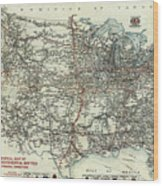 Vintage Aaa Map Of Us Transcontinental Routes - 1918 Wood Print