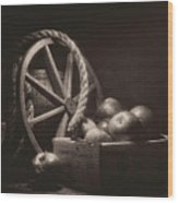 Vintage Apple Basket Still Life Wood Print
