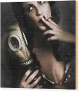 Vintage Army Pinup Girl Holding Gas Mask Wood Print