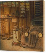 Vintage Auto Repair Garage With Truck And Signs Wood Print