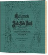 Vintage Bach Piano Book Cover Wood Print