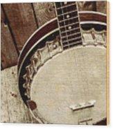 Vintage Banjo Barn Dance Wood Print