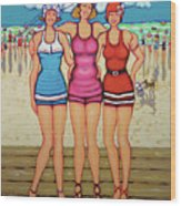 Vintage Beach Scene - Holiday At The Seashore Wood Print
