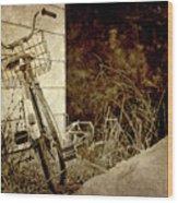 Vintage Bicycle In Winter. Wood Print