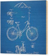 Vintage Bicycle Parasol Patent Artwork 1896 Wood Print by Nikki Marie Smith