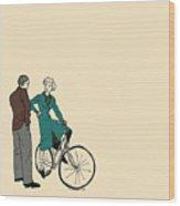 Vintage Bike Couple Wood Print
