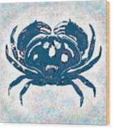 Vintage Blue Crab Wood Print