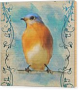Vintage Bluebird With Flourishes Wood Print