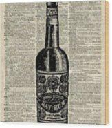 Vintage Bottle Of Rum Over Antique Book Page Wood Print