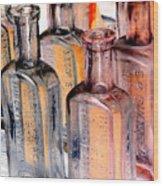 Vintage Bottles At A Flea Market Neg Wood Print