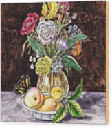 Vintage Bouquet With Fruits And Butterfly  Wood Print