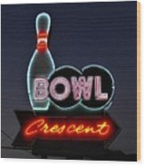 Vintage Bowling Neon Sign Wood Print